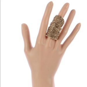 BEAUTIFUL RING PAVE CRYSTAL STONE LAYERED ARMOR.